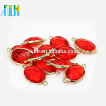NEW crystal oval pendant & connector settings, lt.siam 13*18mm oval crystal beads with alloy around flat setting crystal stones
