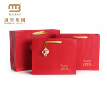 Custom Design CMYK Printing Red Color Chinese New Year Paper Bags For Gift