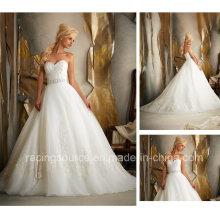 Империя Развертки Поезд Вышивка Свадебное Платье Принцессы Тюль Свадебное Платье