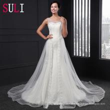 Z-002 Elegant Open Back Tulle Lace Appliques Mermaid Wedding Dress 2016