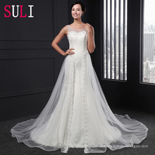Z-002 Elegant Open Back Tulle Lace Appliques Mermaid Wedding Dress 2016
