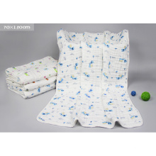 Gauze Printed Organic Animal Baby Blanket with 90X150cm