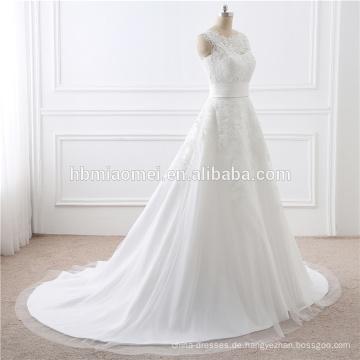2017 Großhandel Hohe Qualität Weiß Spitze Zug Abnehmbare Dame Kleid Hochzeit Für Braut