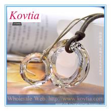 Мода ожерелье 2014 кристалл кольцо кулон кожаный канат пару ожерелье
