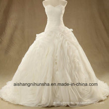 Luxury off Shoulder Sweetheart Wedding Dress Pleated Lace up