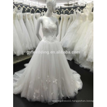 Guangzhou Wedding Fctory A-line Strapless Neckline Floor-Length Lace Cheap Custom Made Wedding Dress Bridal Dress P1000