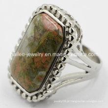 Moda 316L anel de aço inoxidável com pedra grande