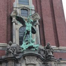 Estatua de bronce del ángel del tamaño de la vida de la decoración antigua del edificio del estilo europeo