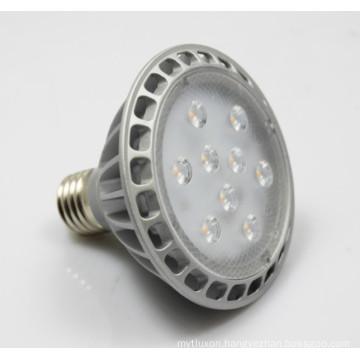 230V dimmable spotlight PAR30 9LEDs silvery' finish die-casting housing