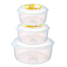 3 PC Plastic Food Container Set Round Shape Microwave Use