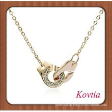 Personalisierte Art und Weise Kristallgoldverriegelung Handschellen-Kettenhalskette