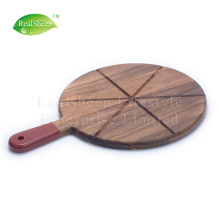 Acacia Wood Pizza Stone Paddle With 6 Grooves
