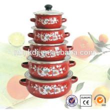5 Stück Emailleware Bekker Marke Kochgeschirr & mit Glasdeckel