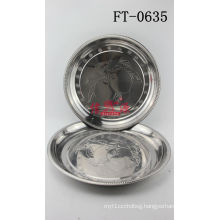 Stainless Steel Mango Design Round Tray (FT-6035)