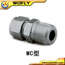 Raccords de tubes mâles en acier inoxydable pour l'azote