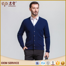 Cárdigan de lana merino con cuello en V, suéter azul marino para hombre, suéter de punto, hombre