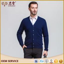 Мериносовой шерсти V-воротник кардиган темно-синий свитер для мужчин вязаный свитер мужской