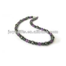Magnetische Hämatit Amethyst Perlen Halskette