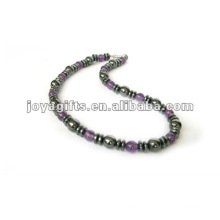 Magnetic Hematite Amethyst beaded Necklace