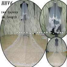 HHV6 2011 Wholesale New Two Layers Lace Edged Beads Real Sample Bride Wedding Veil