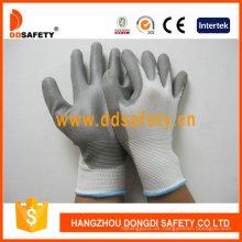 Guante de nylon poliéster Liner PU recubierto en la palma y los dedos Dpu108