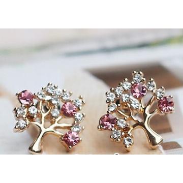 Brincos de jóias de árvore de Natal de diamante (XER13368)