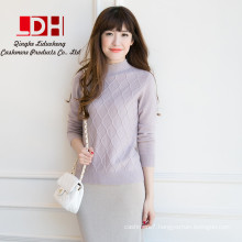 2017 New customized soft genuine half collar diamond pure cashmere pullovers cashmere sweater for women