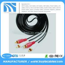 10FT (3M) Gold RCA 2RCA a 2 RCA macho a macho cable de audio estéreo para DVD