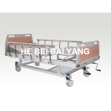 (A-54) --Movable Double-Function Manual Hospital Bed with ABS Bed Head