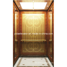 Best Quality Passenger Lift with Etched Golden Mirror Stainless Steel