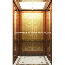 Elevador de passageiros de melhor qualidade com espelho dourado gravado em aço inoxidável