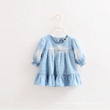 As camisas as mais atrasadas das calças de brim da menina do projeto do outono, camisas longas das luvas do plissado das crianças