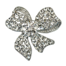 Fashion Silver Plated Rhinestone Bow Design Lady Brooch