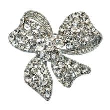 Moda prata banhado strass bow design senhora broche