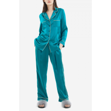 Seidenpyjamas Langarm Button Down Pj Set