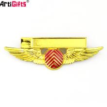 Su Propio Diseño de Metal en Solapa Traje de Piloto Alas Hard Enamel Custom Pin Badge