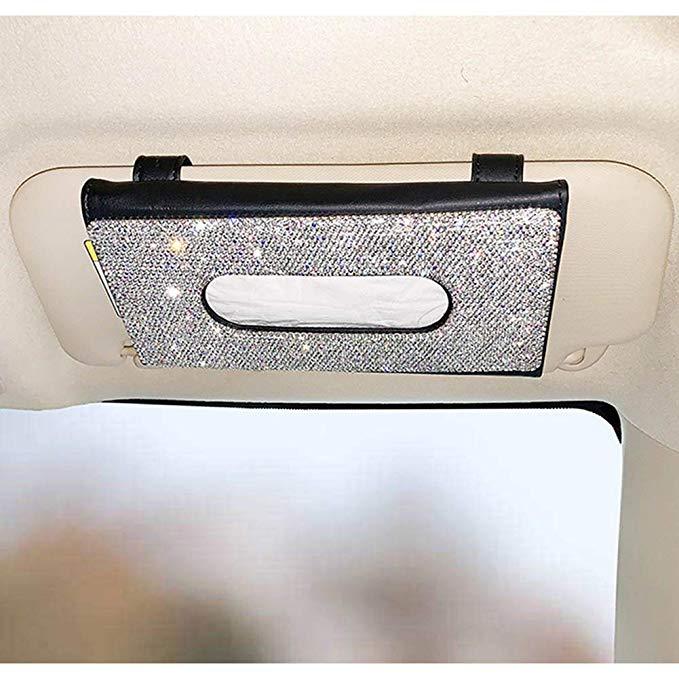 Pu Leather Hanging Sun Visor Car Tissue Box1 Jpg