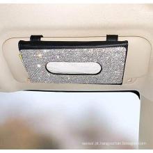 Caixa de tecido para carro com viseira solar suspensa em couro PU