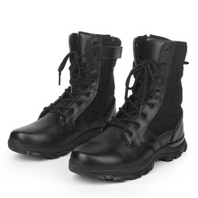 Black Leather Men Boots Military Boots