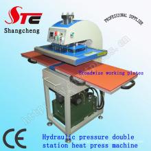 Pressão hidráulica t-shirt impressão Machine40 * 60cm duplo estação calor transferência máquina automática óleo pressão calor imprensa máquina Stc-Yy01