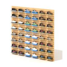 Precio de fábrica Calzado Tienda al por menor Pantalla de pared de madera de encargo Pantalla de pared de chapa comercial