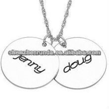 "custom Stainless Steel Couple's Engraved Name Charm Pendant with 20"" Chain"