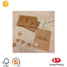 Etiqueta impressa de papel Kraft de moda para roupas