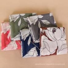 Nueva llegada premium Peony grande flral impresión mujeres sarga de algodón bufandas viscosas bufanda