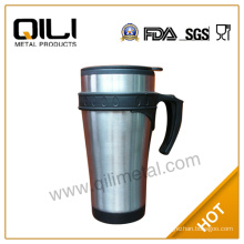 450ml stainless steel double wall auto mug with handle