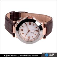 Subió la moda del reloj del cuarzo de los hombres del oro, reloj de cuero del negocio de la venda
