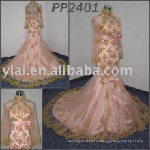 Прекрасный дизайн 2011 бесплатная доставка высокое качество elgent кружева русалка мусульманин свадебное платье pp2401