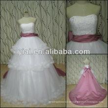 JJ2778 Ballkleid Abnehmbare Zug Brautkleid mit rosa Schärpe