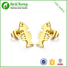 Elegant design fish bone metal earring