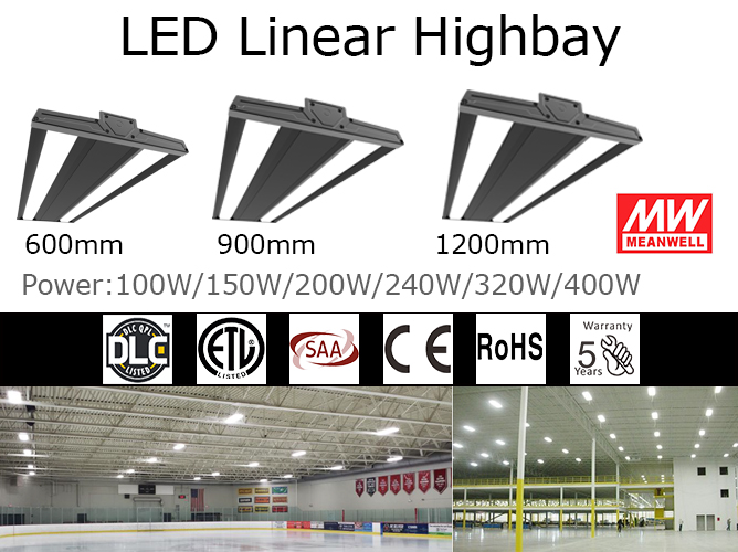 Dimmable indoor led linear high bay fixture